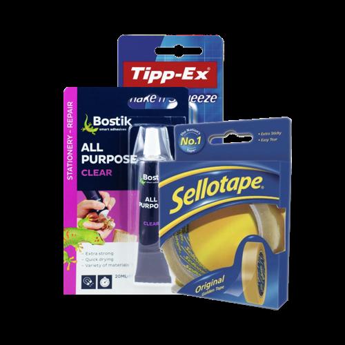 Glue,Tape, Correction Fluid & White Tack