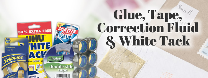 Glue, Tape, Correction Fluid & White Tack