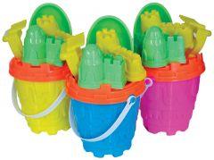 Beach Set - 14cm Round Castle Bucket with Spade & Accessories