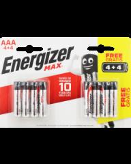 Energizer MAX AAA Alkaline Batteries 4+4 Free