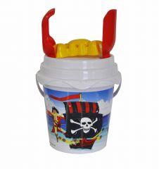 Beach Set - 17cm Round Pirate Bucket with Spade & Accessories