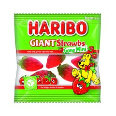 Haribo Giant Strawbs Gone Mini Treat Size Mini-Bags 16g