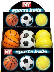 M.Y. 10cm PU Sports Ball 3 Assorted Designs CDU