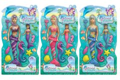 Mermaid Princess - 34cm Mermaid Doll & Seahorse Playset Hang Pack 3 Assorted Colours