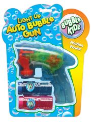 Auto Bubble Gun with Lights & Bubbles Hang Pack Assorted Colours