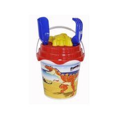 Beach Set - 17cm Round Dinosaur Bucket with Spade & Accessories