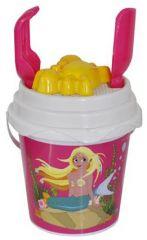 Beach Set - 17cm Round Mermaid Bucket with Spade & Accessories