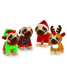Keel 25cm Standing Pugsley In Christmas Outfit Assortment