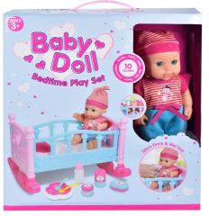 Baby Doll with Sound -  Cot Play Set