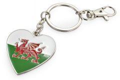 Metal Keyring Wales Flag Heart
