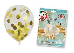 """6 Pre-Loaded Gold Confetti 12"""" Balloons Hang Pack"""
