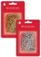 18 Card Holder Pegs Hang Pack 2 Assorted Gold & Silver