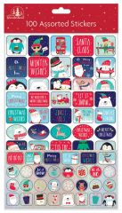 Wholesale 100 Assorted Christmas Stickers Hang Pack