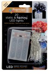 20 Warm White Static & Flashing B/O LED Lights CDU
