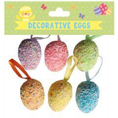 Easter Glitter Eggs 6 Small Assorted