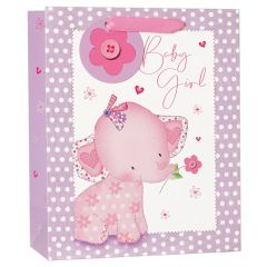 Gift Bag Medium - Pink Elephant W215 x H265 x D100mm