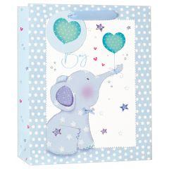 Gift Bag Medium - Blue Elephant W215 x H265 x D100mm