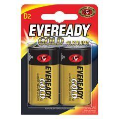 Eveready Gold Alkaline D Batteries 2pk