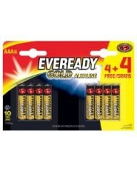 Eveready Gold Alkaline AAA Batteries 4+4 Free