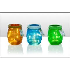 LED Coloured Glass Jar with lid 18.5cm 3 Assorted Colours