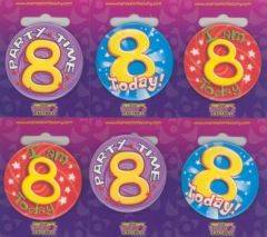 Age 8 Badge 55mm Assorted Designs