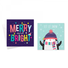 Wholesale Christmas Cards 10 Square - Bright