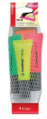 Stabilo Neon Highlighter 4 Assorted Colours Hang Pack