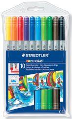 Staedtler Noris Club 10 Double Ended Fibre Tip Pens Hang Pack (2 Tip Widths)