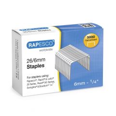 Rapesco 5000 Galvanised Staples 26/6mm Boxed