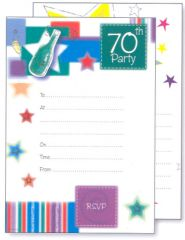 Party Invitations and Envelopes 70th Birthday