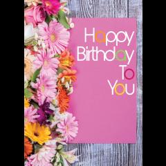Birthday Card Open Flowers