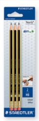 Staedtler 3 Noris HB Eraser Tipped Pencils Hang Pack