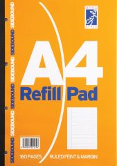 Office Style Refill Pad 160 Pages Ruled Feint & Margin Sidebound
