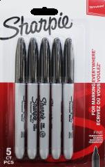 Sharpie 5 Black Markers Hang Pack