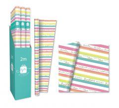 Gift Wrap Roll Colourful Stripe 2m CDU