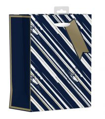 Gift Bag Medium - Blue and Gold Stripes