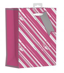 Gift Bag Medium - Pink and Silver Stripes