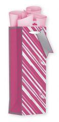 Bottle Bag - Pink and Silver Stripes