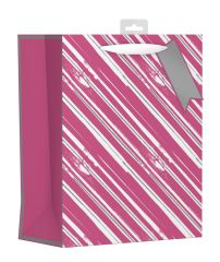 Gift Bag Large - Pink and Silver Stripes