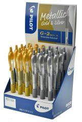 Pilot G2 Metallic Gel Ink Pen 12 Gold/12 Silver CDU