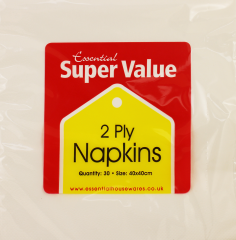 Super Value 2 Ply 40cm White Napkins 30's