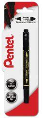 Pentel Black Twin Tip Permanent Marker Pen Hang Pack