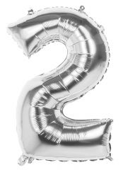 Silver Foil Balloon 86cm Number 2 Hang Pack
