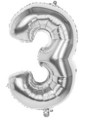 Silver Foil Balloon 86cm Number 3 Hang Pack