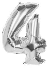 Silver Foil Balloon 86cm Number 4 Hang Pack
