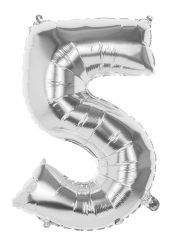 Silver Foil Balloon 86cm Number 5 Hang Pack