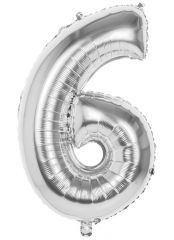 Silver Foil Balloon 86cm Number 6 Hang Pack