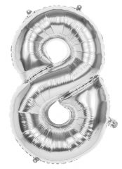 Silver Foil Balloon 86cm Number 8 Hang Pack