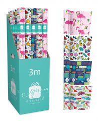 Gift Wrap Roll 3m Teen Assortment CDU