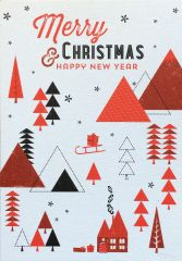 Velvet Olive Christmas Card - Merry Christmas And A Happy New Year Trees